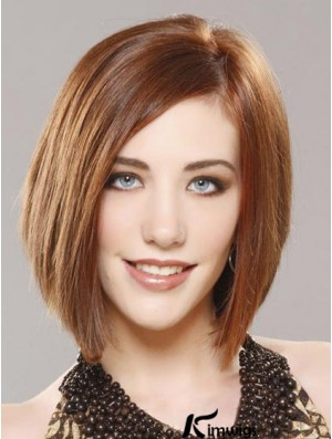 Lace Front Chin Length Straight Auburn No-Fuss Bob Wigs