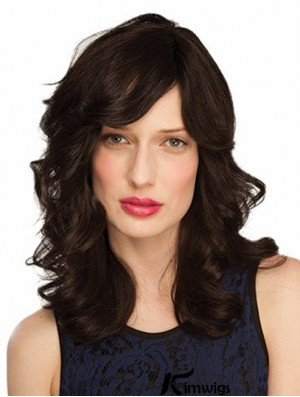 Monofilament Wavy With Bangs Shoulder Length 14 inch Good Human Hair Wigs