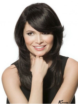 Black Long Incredible Wavy With Bangs Lace Wigs