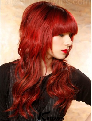 Human Hair Red Wigs Wavy Style Long Length With Bangs