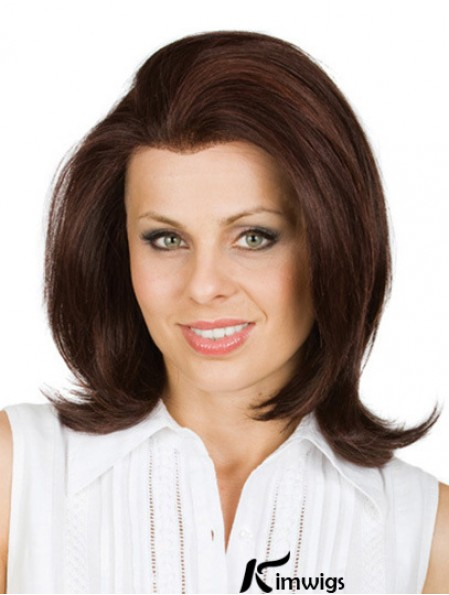 Brown 12 inch Shoulder Length Without Bangs Wavy No-Fuss Lace Human Hair Wigs