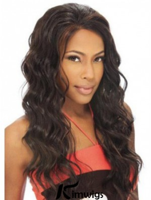 Radiant African American Remy Human Hair Lace Front Wavy Long Wigs
