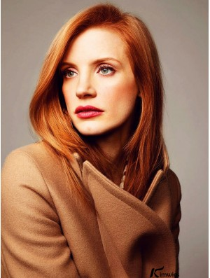 Without Bangs Long Copper Straight 16 inch Comfortable Human Hair Jessica Chastain Wigs