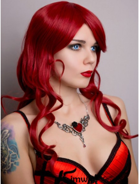 Wavy Without Bangs Lace Front Suitable 20 inch Red Long Wigs