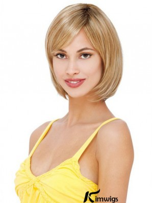 Glamorous Blonde Lace Front Mono Human Hair Wigs With Chin Length
