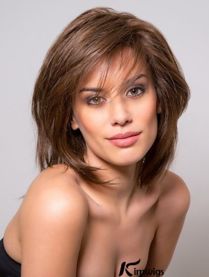 With Bangs Shoulder Length Full Lace Remy Human Hair Brown 12 inch Straight African Wigs