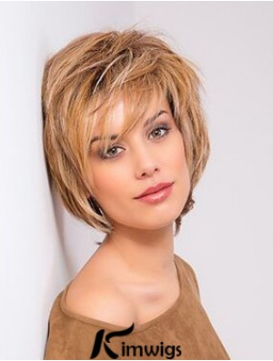 Blonde Monofilament Straight Bobs 10 inch Copper Chin Length Human Hair Lace Front Wigs