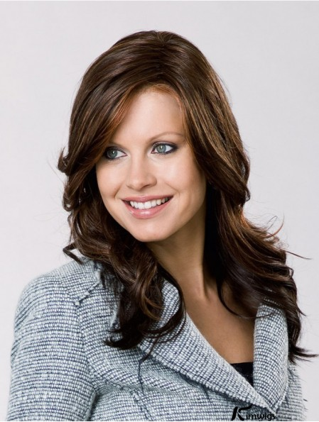 Remy Human Hair Brown Wavy 15 inch Lace Front Layered Ladies Long Wigs
