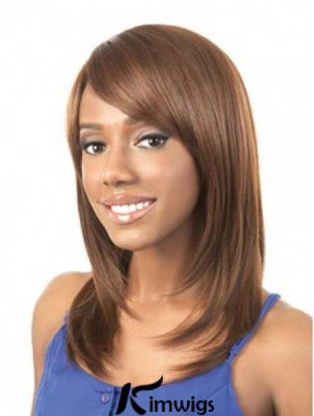 Wigs For African American Woman Brown Color Straight Style Shoulder Length