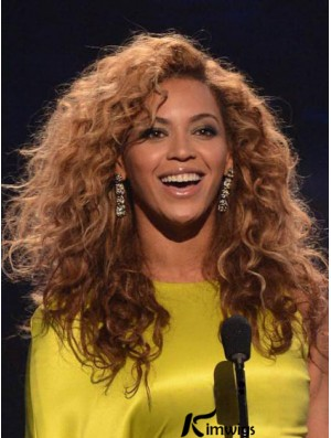Brazilian Remy Auburn Capless Long Kinky Layered Beyonce Afro Human Hair Wigs For African American Women