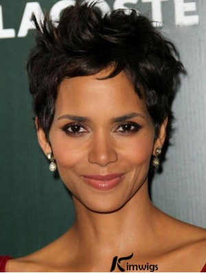 Short Halle Berry Wigs With Lace Front Boycuts Wavy Style Cropped Length