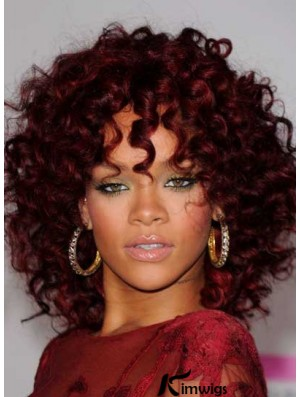Rihanna Red Color Shoulder Length Kinky Style Layered Cut For African American Women
