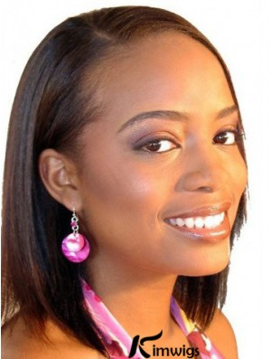 Indian Remy Capless Chin Length African American Short Human Hair Wigs