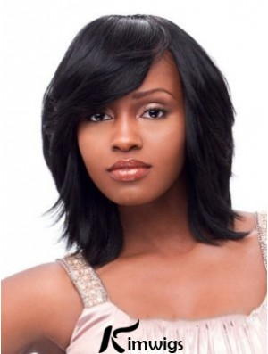 Short African American Wigs Chin Length Black Color With Bangs