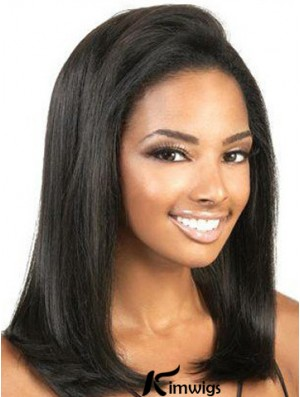 Cheap Human Hair Lace Front Wigs Yaki Style Shoulder Length Black Color