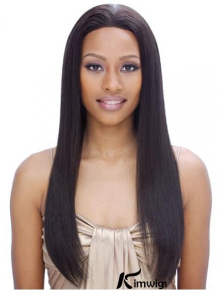"24"" Black Long Without Bangs Yaki Incredible Lace Wigs"