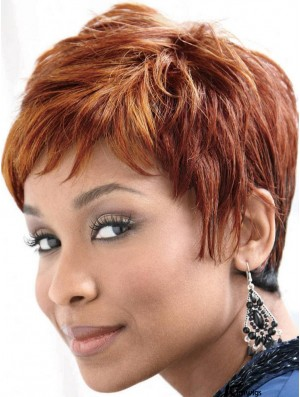 Cheap African American Human Hair Wigs Auburn Color Straight Style