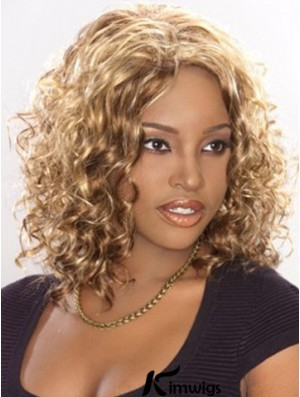 Natural Blonde Curly Shoulder Length Lace Wigs For African American