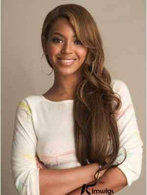 Brazilian 24 inch Brown Lace Front Wavy With Bangs Beyonce Wigs