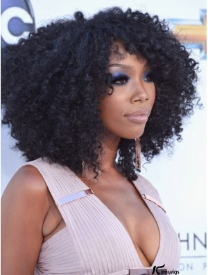 Black Incredible 14inch Shoulder Length Kinky Wigs For Black African American Women