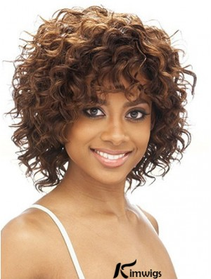 Brazilian Chin Length Kinky Brown With Bangs Best Black Woman Wigs