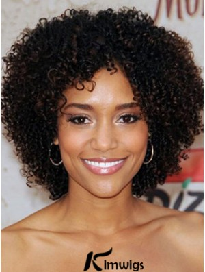 Kinky Short Human Hair Wigs For Black African American Women With Lace Front