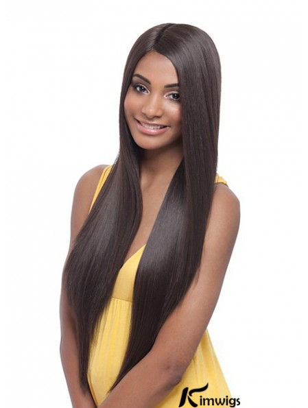 Long Yaki Without Bangs Trendy Brown Lace Front Wigs