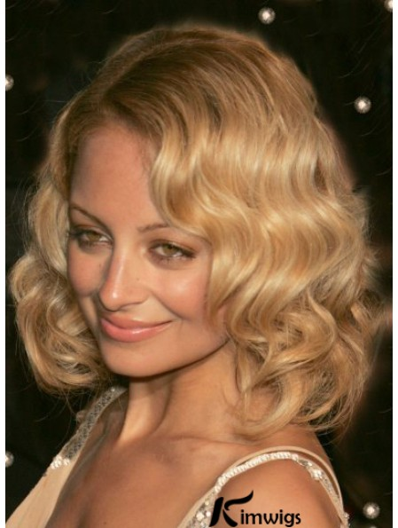 Popular Nicole Richie Wigs With Wavy Style Shoulder Style Blonde Color Lace Front Wigs