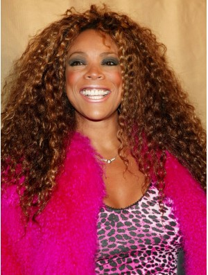 Long Kinky Curly Wendy Williams Wigs Without Bangs Lace Front Auburn Color Wigs For Black Women