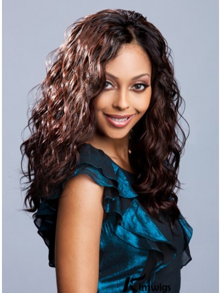 Fashion Auburn Wavy Long Glueless Human Hair Lace Front Wigs Without Bangs For African American Women