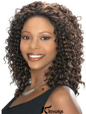 Kinky Lace Front Wig Kinky Style Shoulder Length Brown Color