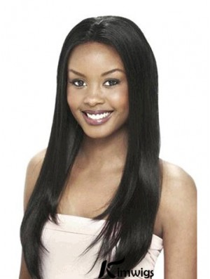 Without Bangs Designed Yaki Black Long Human Hair Lace Front Wigs
