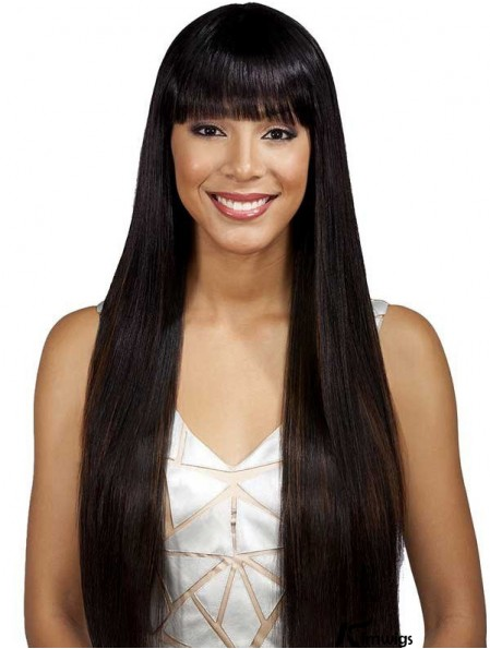 Long Black With Bangs Yaki Fashionable Full Lace Wigs
