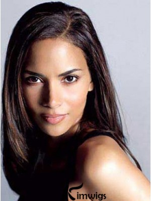 Without Bangs Trendy Straight Auburn Long Human Hair Lace Front Halle Berry Wigs