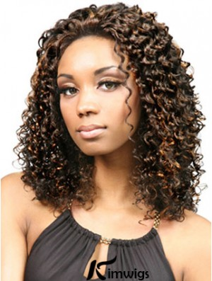 Durable Shoulder Length Kinky 18 inch Synthetic Glueless Lace Front Wigs