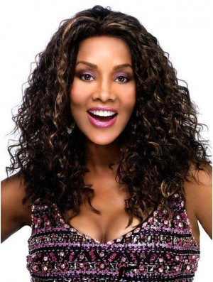 Black African American Synthetic Lace Front Long Curly Brown Afro Kinky Lace Wigs
