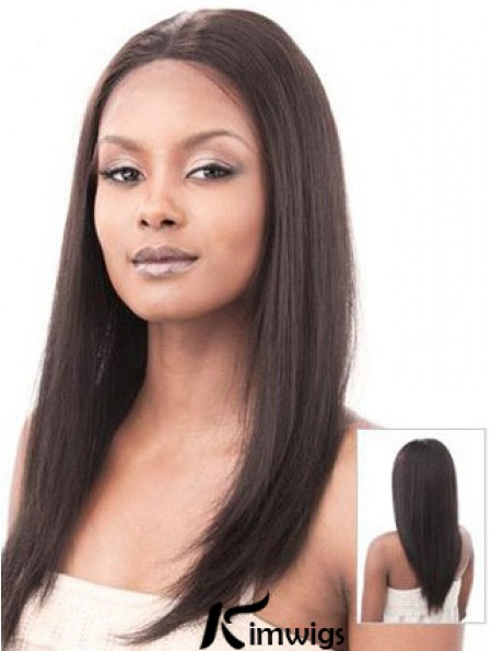 Auburn 16 inch Sleek Long Yaki Without Bangs Lace Wigs