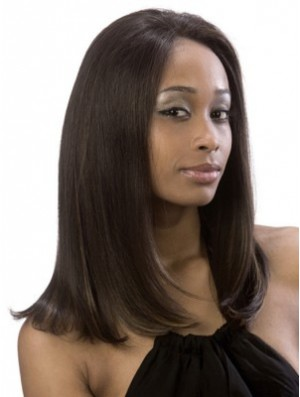 Yaki Without Bangs Lace Front Online 16 inch Brown Long Wigs