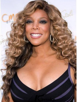 Blonde Curly Human Hair Wigs Without Bangs 22 inch Length Best Wendy Williams Wigs
