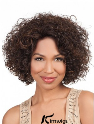 High Quality Chin Length Kinky 10 inch Synthetic Glueless Lace Front Wigs
