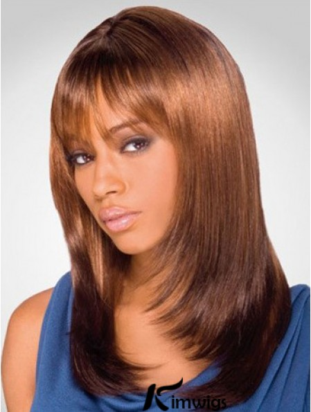 Online Shoulder Length Yaki 16 inch Synthetic Glueless Lace Front Wigs