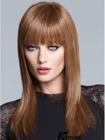 Yaki With Bangs Long Brown Fabulous Lace Front Wigs