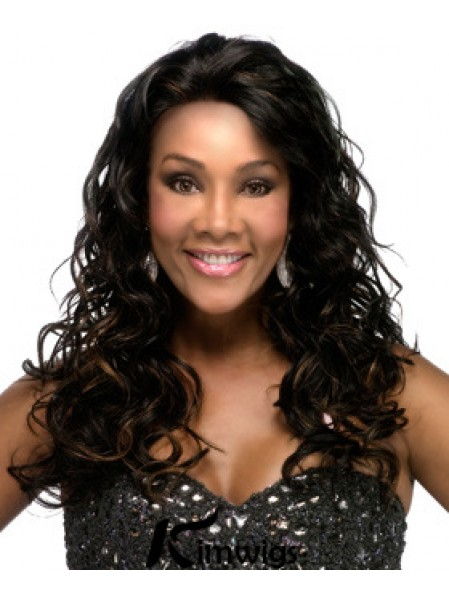 Black Indian Remy Lace Front Long Curly African American Wigs For Black Women