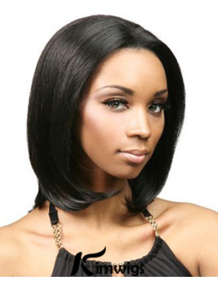 Without Bangs No-Fuss Yaki Black Chin Length Human Hair Lace Front Wigs