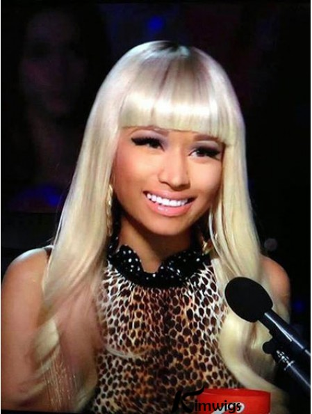 24 inch Blonde Wavy With Bangs Long Incredible Nicki Minaj Wigs