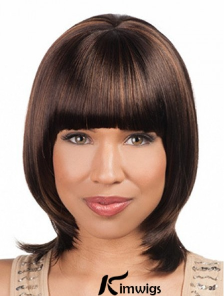 Sleek Chin Length Yaki 16 inch Synthetic Glueless Lace Front Wigs