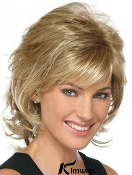 Blonde Classic Womens Wigs With Lace Front mono Layered Cut Chin Length Synthetic Wigs