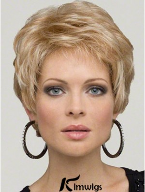Synthetic Lace Front Wigs Blonde Color Cropped Length Boycuts
