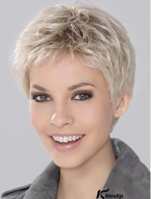 Blonde Synthetic Incredible Cropped Platinum Wavy Monofilament Wigs For Women