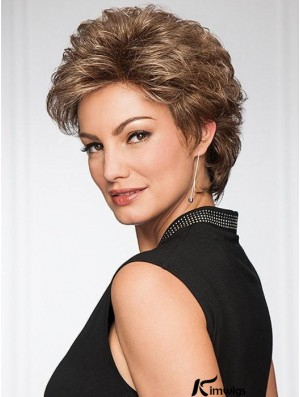 Brown Layered Wavy 4 inch Short Synthetic Wigs For Old Women